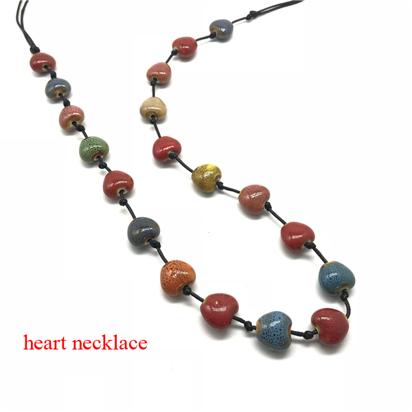 Knotted Adjustable Ceramic Flower Long Heart Statement Necklace55