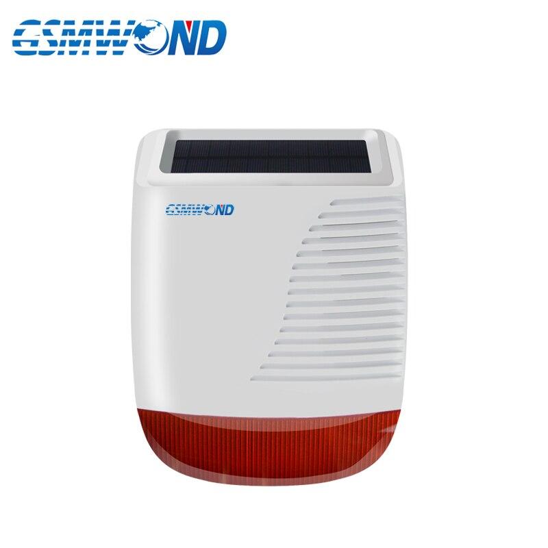 Sirène stroboscopique solaire sans fil 433 MHz extérieure étanche avec lumière Flash rouge 110db pour notre système d'alarme Wifi/GSM/PSTN
