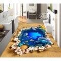 Suelos de Encargo Etiqueta de la Pared HD Mundo Submarino de Conchas de Playa Piso Pegatinas Lotusf Piso del Baño De Pintura Foto Wallpaper