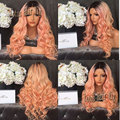 Body Wave Ombre Pink Synthetic Lace Front Wigs Dark Root Ombre Pink Wigs Glueless Heat Resistant Lace Front Wig For Black Women
