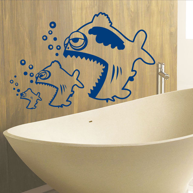 Waterproof Bathroom Wall Door Window Decor Stickers Big Fish Eat Small FISH  Bubble Vinyl Wall Decals