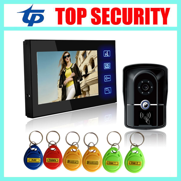RFID card access control system 7 touch color video door phone door bell system with 125KHZ RFID card reader intercom system 7 inch password id card video door phone home access control system wired video intercome door bell