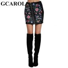 GCAROL Euro Style Embroidered Floral Faux Leather Women Skirt Rivets Asymmetric Zipper Mini Sexy PU Skirt