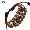 JS 2016 Summer Pulseras Mujer Real Brown Leather Mens Bracelet Bohemian Cross Bracelets Women Braided Beads Jewlery LB056