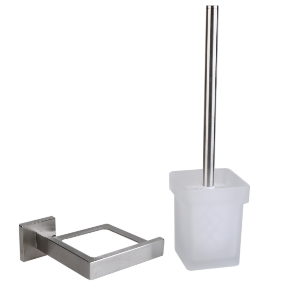 Luxury Contemporary 304 Stainless Steel Square Bathroom Toilet Brush ...