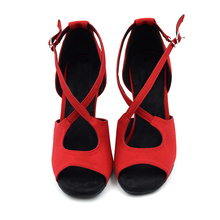 Nubuck Latin Dance Shoes Girls Sandals 8.5cm Slim high heel soft sole Red Black Salsa tango Women Latin Shoes NL007