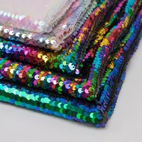 130cm wide size retail rainbow shimmer glitter sequin fabric sheet for garment hair bow shoe bag accessories