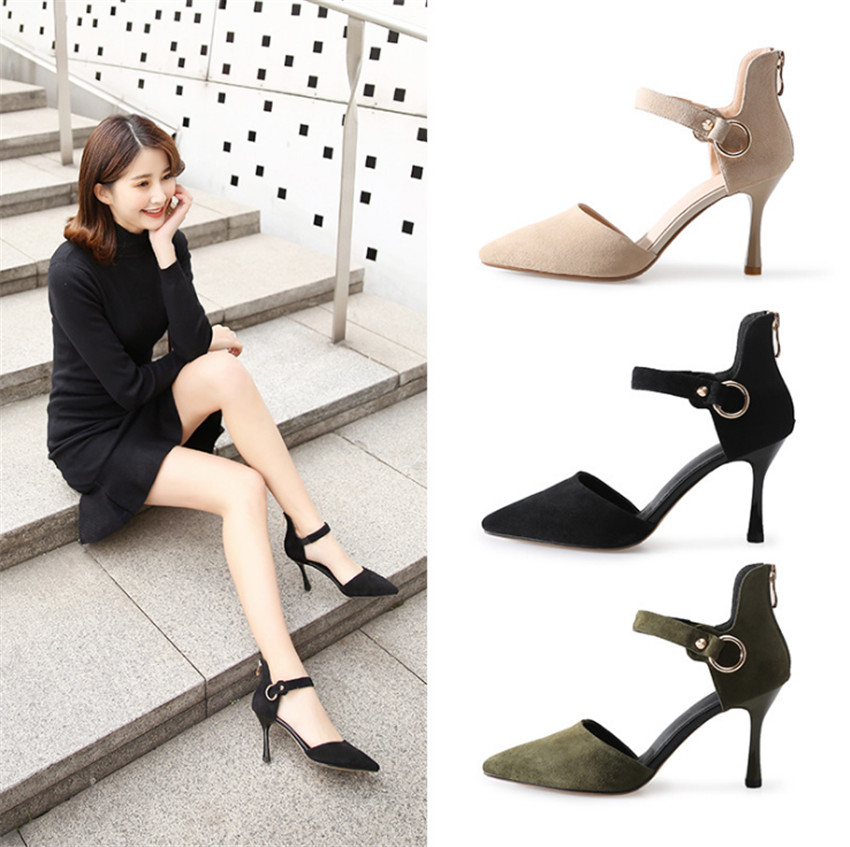 ZOUDKY 2018 Autumn winter Bandage Sharp head High heeled Hollow thin sandals
