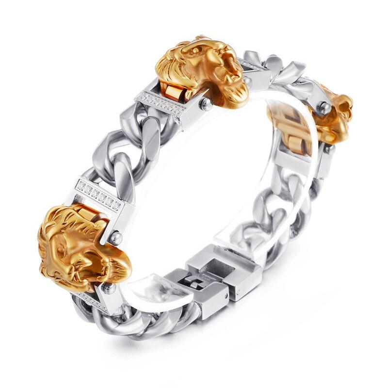 Boucles de tête de Lion et de crâne en acier inoxydable 316L de Style Punk pour hommes avec chaîne en os Bracelet de poignet bijoux S228