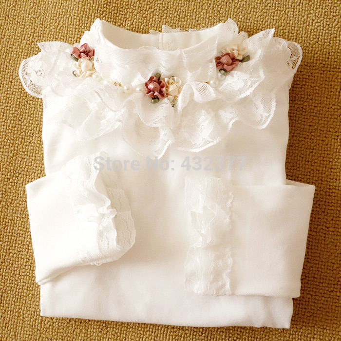 T-Shirts Long-Sleeve Clothing Floral Toddler Girl Princess Kids Children New Wear Lace