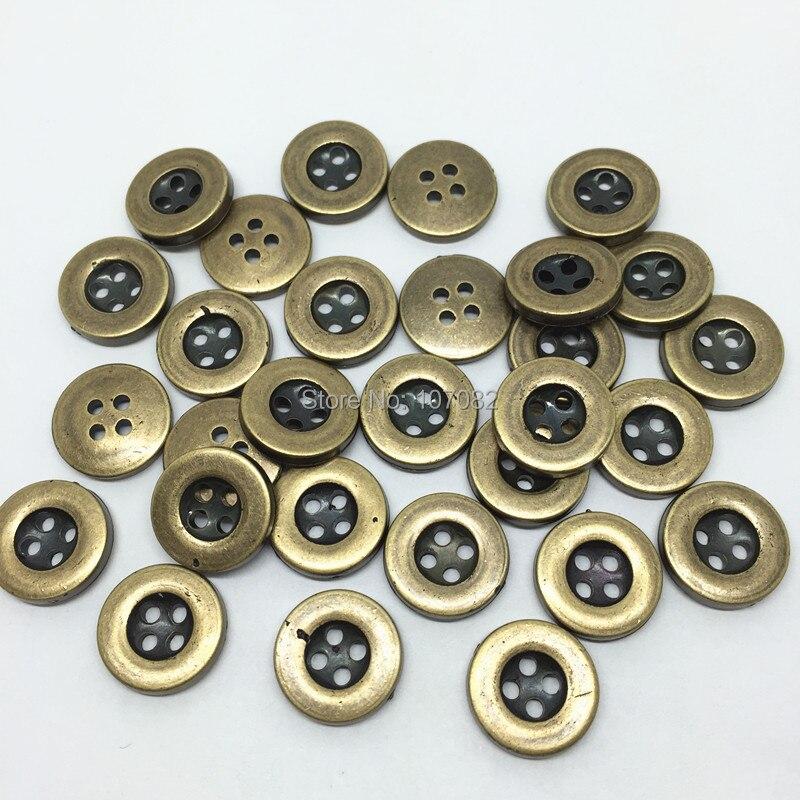 500 шт. 13 мм 4 отверстия Пластик антикварные латунные пуговицы для шитья джинс рубашки на пуговицах аксессуары для крапбукинга