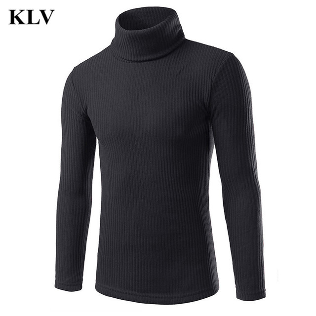 New Autumn Winter Fashion 4 Color Men's Warm Slim Fit Pullover Knit Sweater Male Warm Solid Long Sleeve Turtelneck Tops Oct28