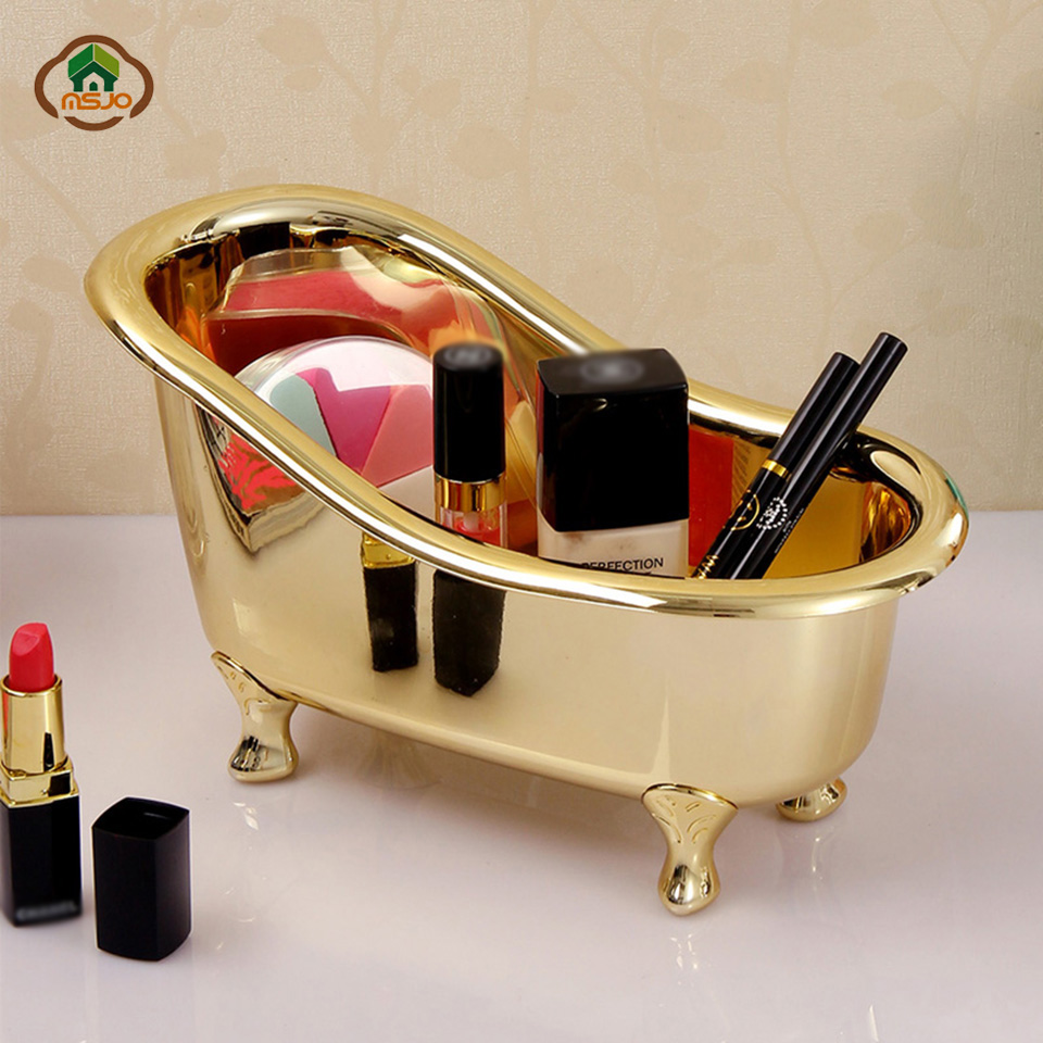 Msjo Makeup Organizer Plastic Mini Bathtub Soap Jewelry Storage Box Nail Casket Holder Desktop Sundry Storage Case