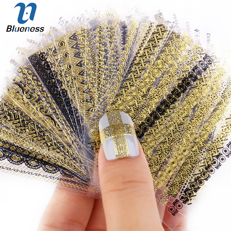 24 Pcs Nail Stickers 3D Nail Art Sticker Decal Manicure Gold/Silver Stripe Love Heart Glitter Decorations For Nails Accessories 100pcs pack gold nail art decorations 3d metal nails studs trinket heart triangle round horse eye manicure accessories tools
