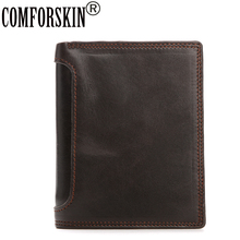 2017 New Arrivals Bi-fold Short Men Wallets Luxurious Genuine Leather Vintage Folio Business Hot Men Coin Purses Large Capacity