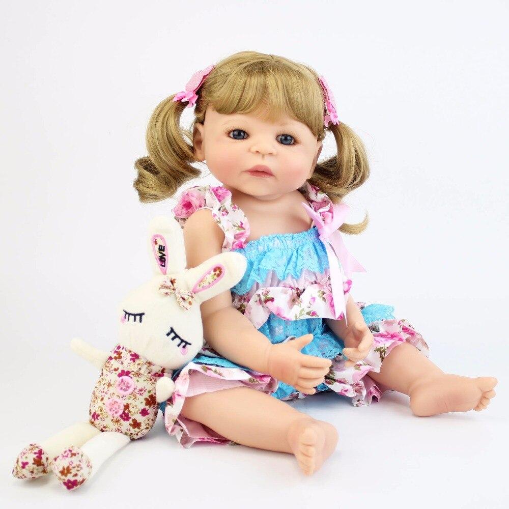 55 см Полный Силиконовые Винил Reborn Baby Doll игрушечные лошадки обувь для девочек Bonecas 22 дюймов новорожденных блондинка принцесса Bebe жив