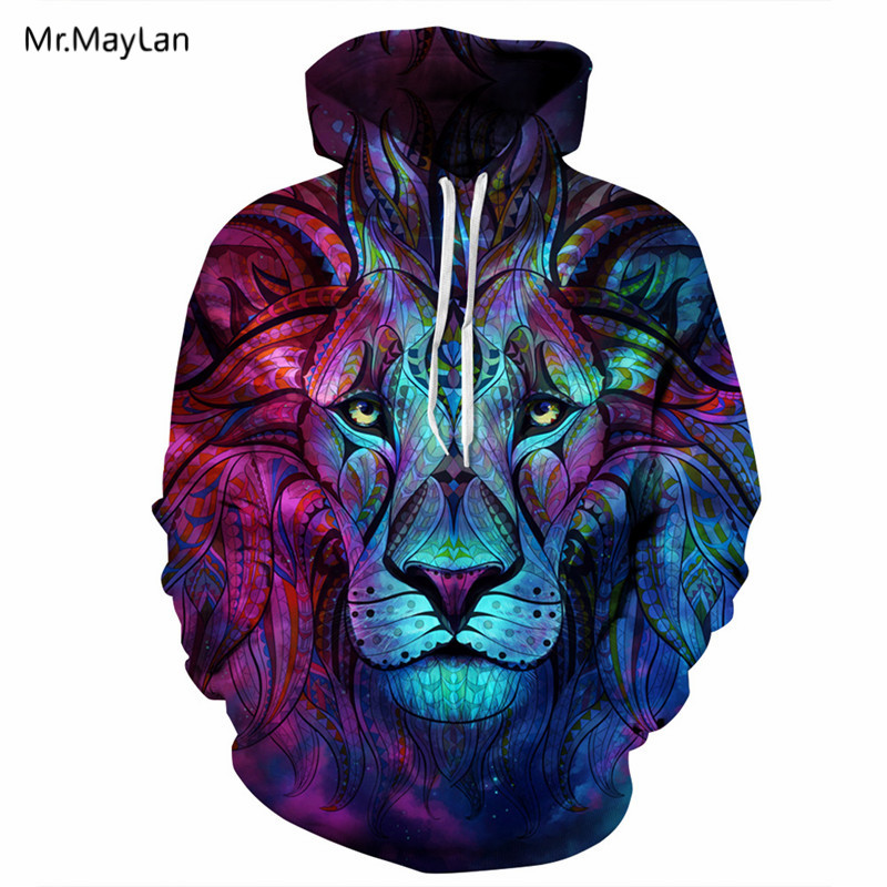 Hipster Colorful Lion Head Print 3D Streetwear Hoodies Hombres / - Ropa de hombre