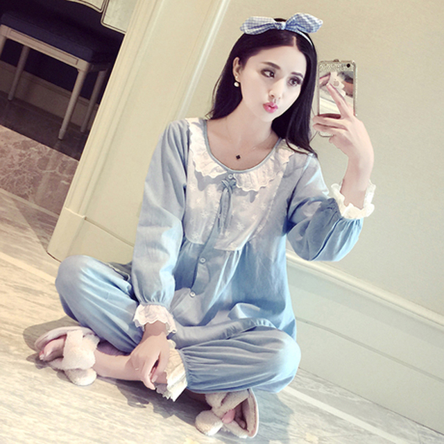 Korean Style Womens Cotton Pajamas Set Womens Sleeping Clothes Lace