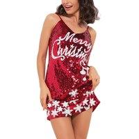 שלג חג המולד חדש עם צווארון סקסי שמלות המפלגה שמלת כוכבים נשים ירך חבילה ללא שרוולים פאייטים לבן