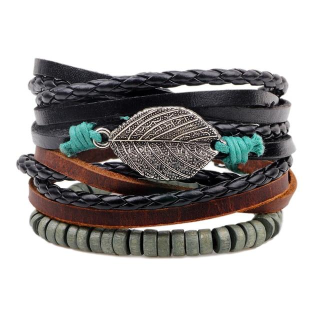 One Set Wrap Leather Bracelets For Women Men Multi Layer Bead Bracelet Female Vintage S Jewelry