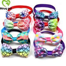50/100PCS Cute Pet Dog Cat Bow Ties Adjustable Fish Scale Patterns Bowties for Holiday Party Accessories Supplies
