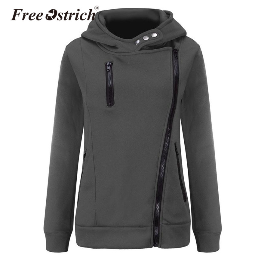 Free Ostrich 2020 Winter Women Coat Hooded Zippers Solid Full Sleeve Ladies Outerwear Coat