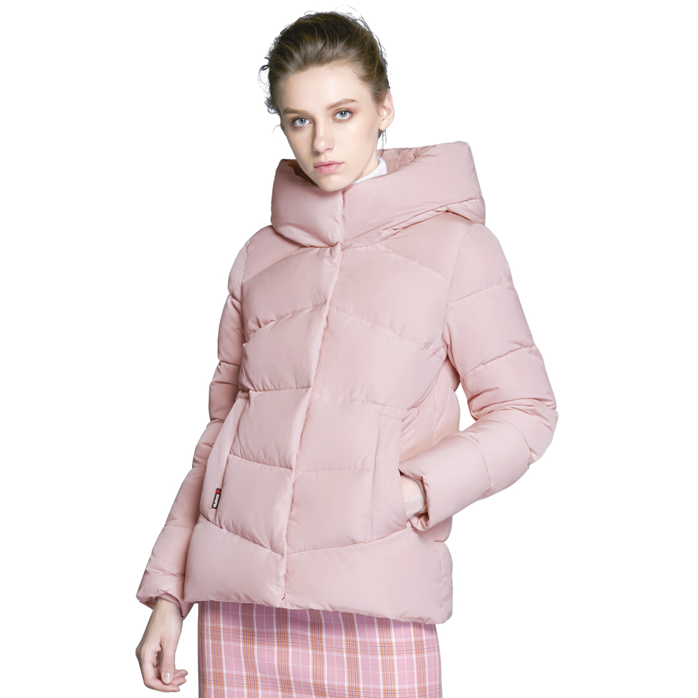 ICEbear2018 new women's hooded winter cotton clothes windproof warm woman clothing fashion jacket female brand coat GWD18088D arsuxeo thermal cycling jacket winter warm up bicycle clothing windproof waterproof breathable pockets mtb bike jersey 15 k