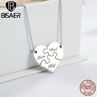 100 925 Sterling Silver Sweet Family Love Puzzle Heart Pendant Necklaces For Women Luxury Sterling Silver