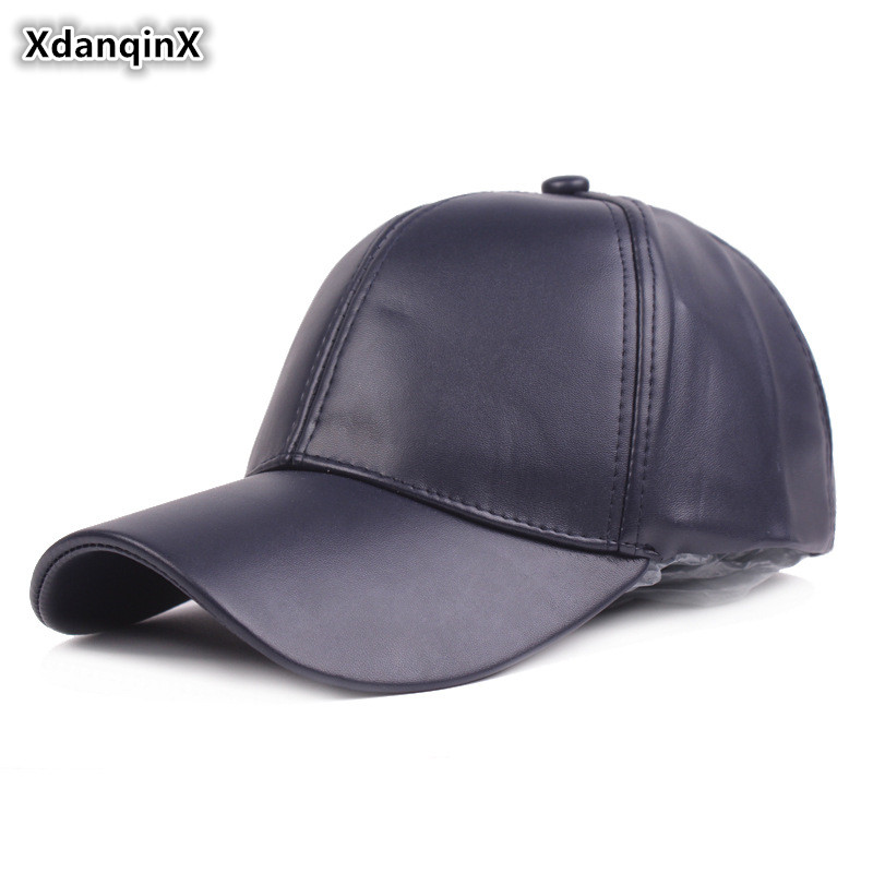 XdanqinX Snapback Cap Adult Mens Simple Light Board PU Leather Baseball Adjustable Size Womens Ponytail Fashion Sports