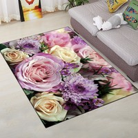 Romantic Rose 3D Carpet for Living Room Reactive Printing Large Size Parlor Flowers Rug Bath Kitchen Mat Children Kids Play Rugs