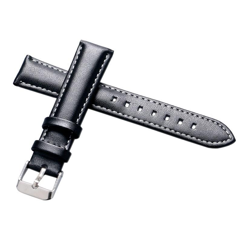 18mm 20mm 22mm 24mm sort ægte læder armbåndsur mænd kvinder ure - Tilbehør til ure - Foto 5