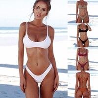 2018 Sexy Bikini Women Swimsuit Push Up Swimwear Summer Women Solid Bikini Set Triangle Beach Bathing