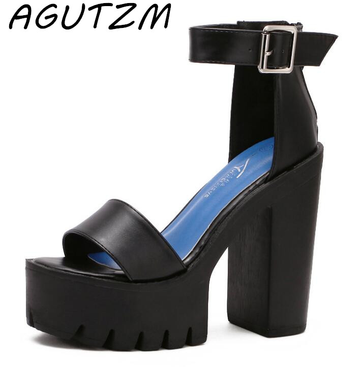 AGUTZM Drop Shipping White Summer Sandal Shoes for Women 2018 New Arrival Thick Heels Sandals Platform Casual Russian Shoes new women sandals low heel wedges summer casual single shoes woman sandal fashion soft sandals free shipping