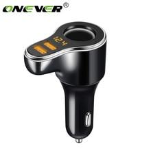 Onever dc carregador de cigarro de carro, 12 24v, soquete de carregador de usb duplo, adaptador com voltímetro suporte carga rápida