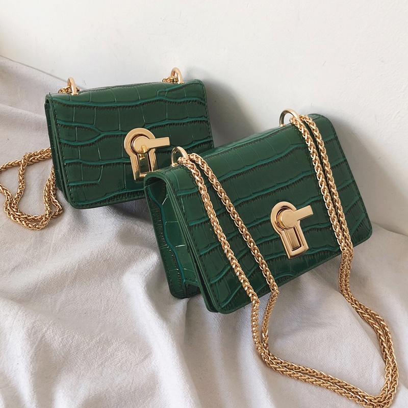 Mini Square Flip Bag 2019 Summer New Quality PU Leather Women's Designer Handbag Stone Pattern Lock Chain Shoulder Messenger Bag