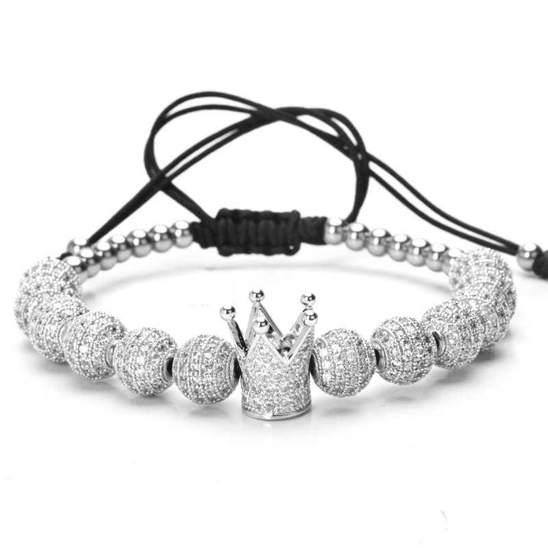 Mcllroy bransoletki mężczyzn biżuteria Bileklik Slivery korona urok 4mm okrągłe koraliki cyrkon pleciony Diy bransoletka Pulseira feminina