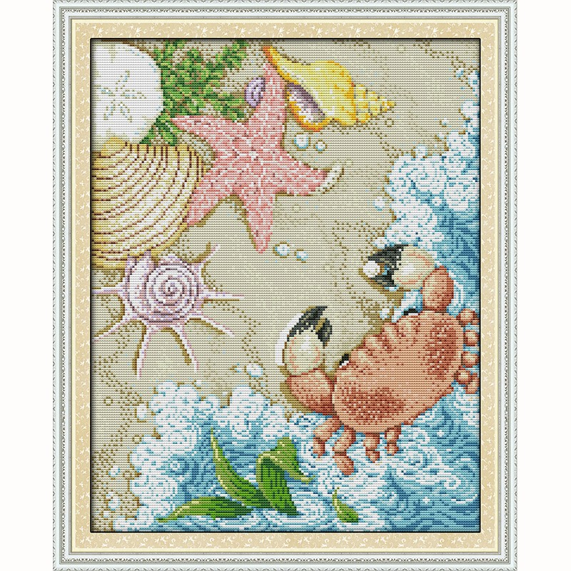 Joyautum DIY Handmade Counted Cross Stitch Needlework Set Embroidery Kit Return from Christmas Scenery Home Decoration 14CT Cross-Stitch 11ct Print Fabric
