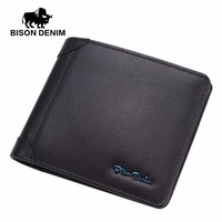 BISON DENIM 2016 Classic Blue Metal Brand Logo Design Cowhide Short Wallet Black Purse Male Gift