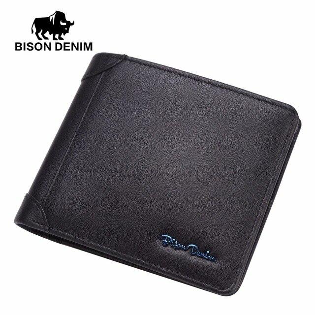aeca62c3a2042 البيسون الدنيم الكلاسيكية جلد طبيعي ضمان العلامة التجارية شعار تصميم جلد  البقر قصيرة محفظة أسود محفظة