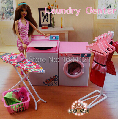 New arrival girl gift play toy doll house laundry center for Accessoire maison barbie