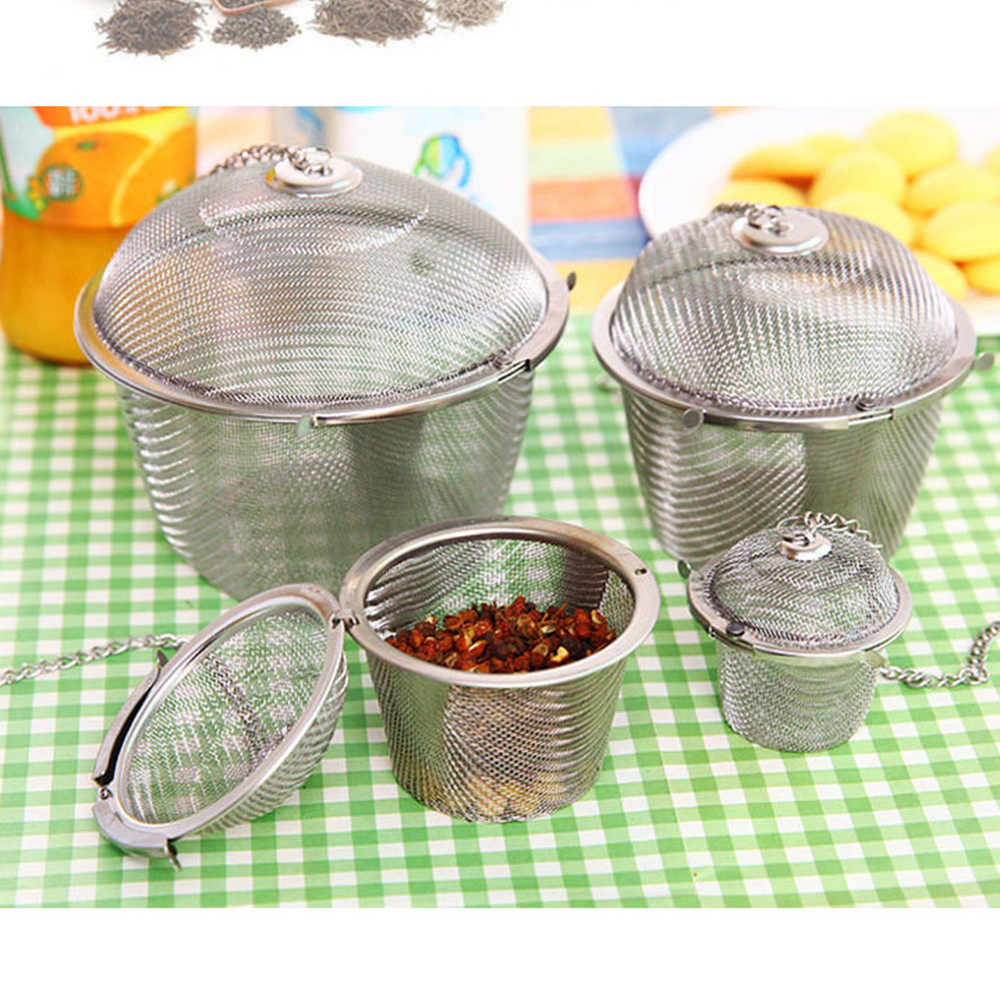 Castle Shape Seasoning Ball Bag Flavoring Box With Lid Chain Stainless Steel Tea Spice Strainer Infuser Mesh Filter Leaf Infuser
