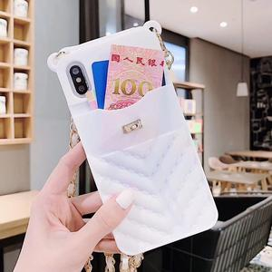Image 2 - Card Slot Long Shoulder Strap Chain Case Cover for Iphone 11 XR XS MAX 6 7 8 Plus XS X Case Fashion Crossbody Wallet Case Coque