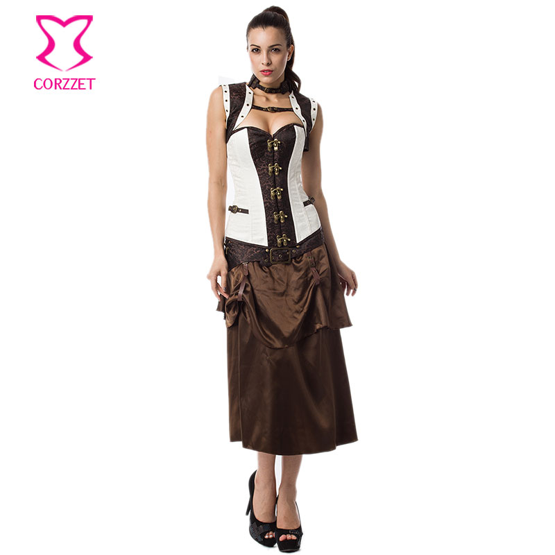 White/Brown Brocade Vintage   Corset   Jacket Skirt Steampunk Dress Gothic Clothing Women   Corsets   and   Bustiers   Sexy   Corset   Dress