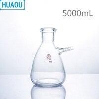 HUAOU 5000mL Filtering Flask 5L with Upper Tubulature Borosilicate 3.3 Glass Laboratory Chemistry Equipment