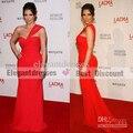 kim kardashian Wear One Shoulder Red Chiffon Floor Length Celebrity Party Evening Dress