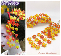 DIY Handmade Classic Maple Leaf Hairpin Japanese Kimono Flower Headwear Yukata Tassels Hair Accessories Headdress