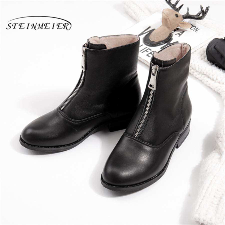 Genuine cow Leather Ankle women chelsea Boots Comfortable quality soft Shoes Brand Designer Handmade winter boots with fur black in Ankle Boots from Shoes