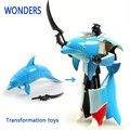 Recién llegado, regalo navidad de plástico transformador de pescado delfín robot, modelo de tiburón para niños colección