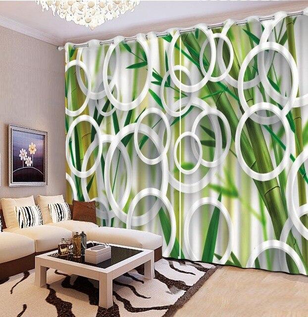 Rideaux 3d personnalisés cercle créatif rideaux verts rideaux de ...