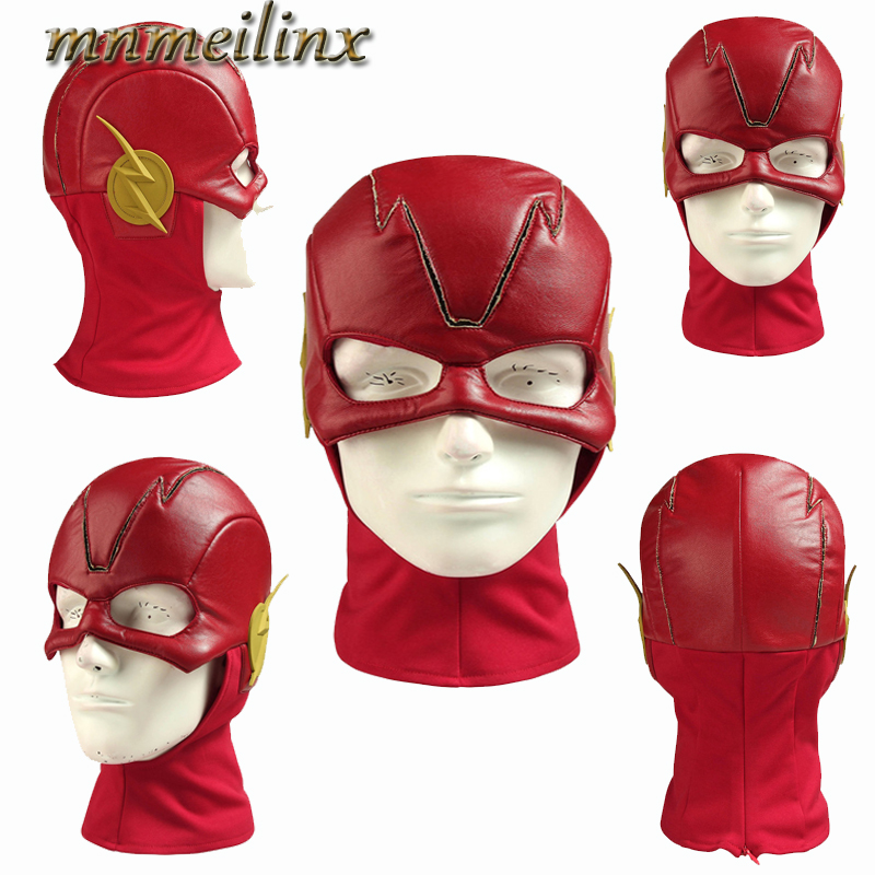 HOT The Flash 5 Barry Allen Mask Flash Cosplay Costume Leather Red Hat Full Head Superhero Mask Free Size Free Shipping